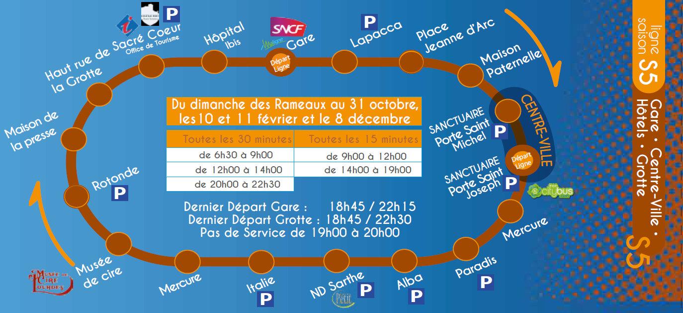 Beliebt Ligne S5 : Gare – Centre-ville – Hôtels – Grotte – MonCitybus.com  ZP77